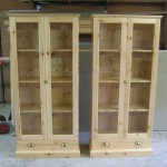 Pair of pine stamp album cabinets