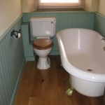 English oak floor in small bathroom