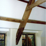 Renovated bedroom ceiling and beams