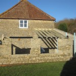 As soon as the stonework was finished, we started work on the cut roof timbers
