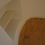 Great care was taken with details such as bending the skirting board around the original walls