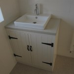 A bespoke vanity unit with contemporary basin in the new bathroom