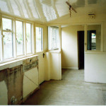 The old kitchen - gutted prior to being demolished to make way for the conservatory