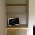 Media cabinet with shelves above